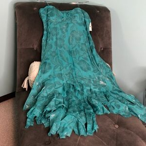 NWT Nicole Miller Teal Floral Handkerchief Dress